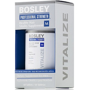 bottle of Bosley Professional Strength Healthy Hair Vitality Supplement For Men
