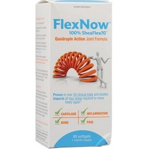 bottle of FlexNow 100% Shea Flex 70 Quadruple Joint Action Formula