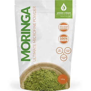 bottle of Green Virgin Products Moringa Ultimate Super Fine Powder