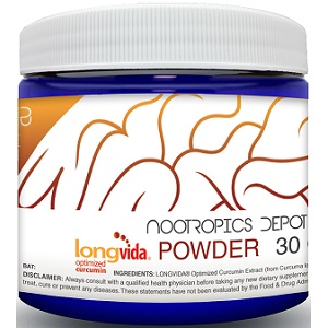 bottle of Longvida Optimized Curcumin Extract Powder