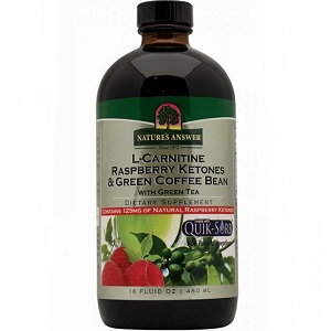 bottle of Nature's Answer L-Carnitine Raspberry Ketones & Green Coffee Bean with Green Tea