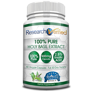 bottle of Research Verified Holy Basil Extract
