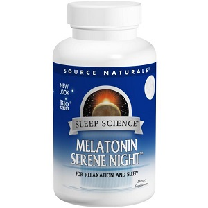 bottle of Source Naturals Sleep Science Melatonin Serene Night