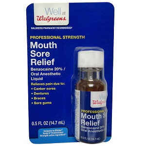 bottle of Walgreens Professional Strength Mouth Sore Relief
