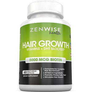 bottle of ZenWise Health Hair Growth Vitamins