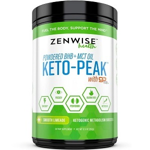 bottle of Zenwise Health Powdered BHB and MCT Keto-Peak