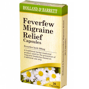 box of Holland & Barrett Feverfew Migraine Relief