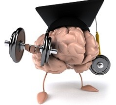 portrait of brain with dumbbells